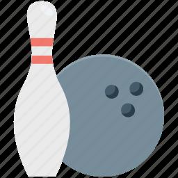 alley pins, bowling ball, bowling game, bowling pins, hitting pins icon