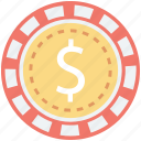 casino chip, casino game, gambling, poker, poker chip icon
