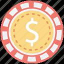 casino chip, casino game, gambling, poker, poker chip icon