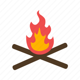 adventure, camping, fire, wood icon