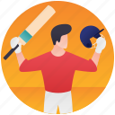 cricket player, olympic game, olympic sports, olympics event, sports logo icon
