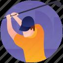 golf, golf course, golf tournament, hockey ball, olympics game icon