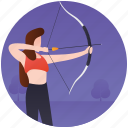 archery, bow arrow, bow hunting, olympics sports, shooting sport icon