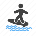 activity, sport, surf, surf board, surfer, surfing board, water icon