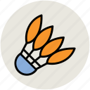 badminton, badminton birdie, feather shuttlecock, game, shuttlecock, sports equipment icon