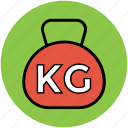 exercise, kilogram weight, weight ball, weight lifting, weight tool icon