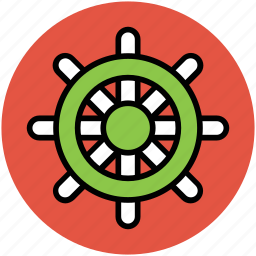 boat steering, boat wheel, ship control. boat helm, ship wheel icon