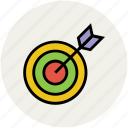 archery arrow, archery target, dart, dartboard, target, throwing game icon