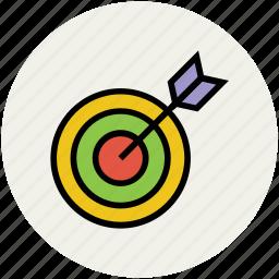 archery arrow, archery target, dart, dartboard, target, throwing game icon