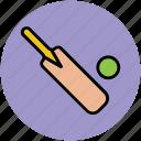 ball, bat, cricket, game, sports, sports accessories icon