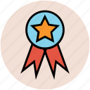 award badge, insignia, ribbon badge, star badge, winner icon