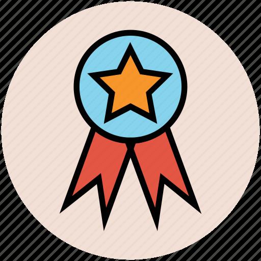 award badge, insignia, ribbon badge, star badge, winner icon