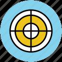 aim, bullseye target, crosshair, goal, optimization, target icon