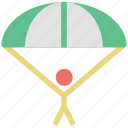 air balloon, air sports, parachute, paratrooper, skydiving icon