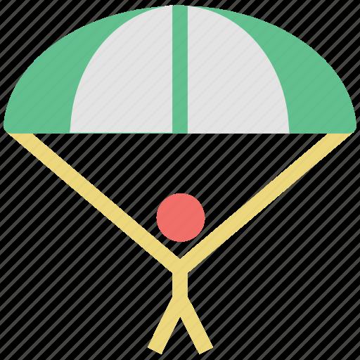 air balloon, air sports, parachute, paratrooper, skydiving icon