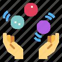 balls, circus, hand, juggling