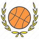 ball, basketball, champion, laurel, sport, win, wreath icon