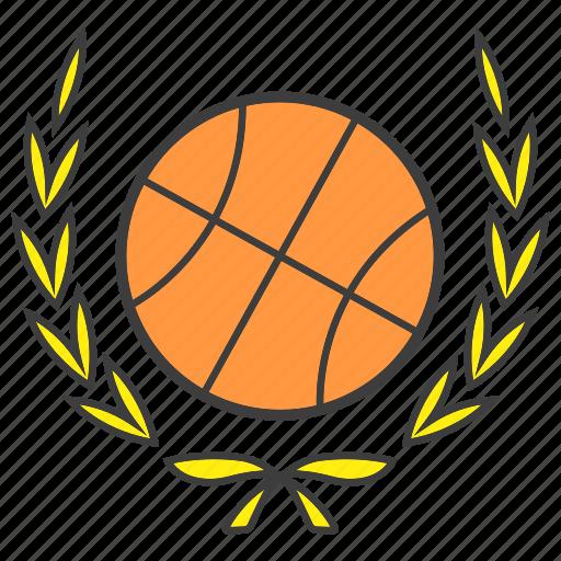 ball, basketball, champion, laurel, sport, win, wreath icon