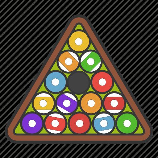 ball rack, billiard, equipment, rack, snooker, triangle icon