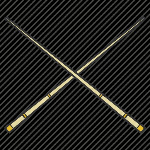 billiard, crossed, cue, equipment, snooker icon