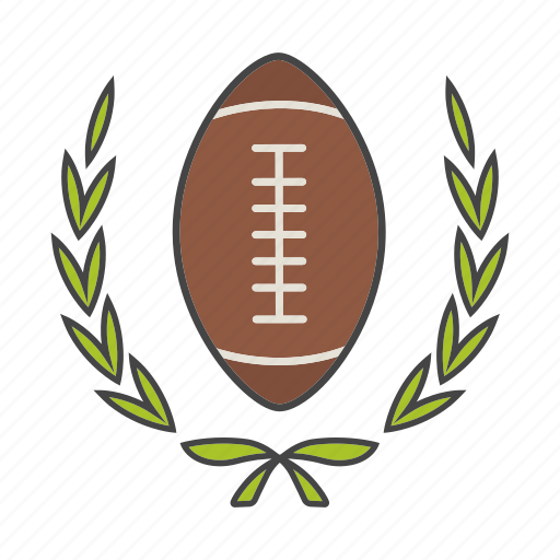 american football, ball, champion, laurel, rugby, sport, wreath icon