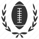 american football, ball, champion, laurel, rugby, sport, wreath icon