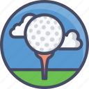 ball, course, fitness, golf, sky, sports icon