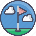 course, fitness, flag, golf, hole, sports icon