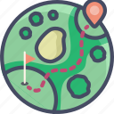 course, fitness, golf, map, route, sports icon