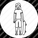 skateboard, skateboarder, skateboarding, skater icon