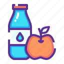 apple, diet, exercise, fitness, food, milk, protein icon