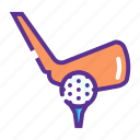 ball, bat, game, golf, hit, tee icon