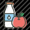 apple, diet, exercise, fitness, food, milk, protein icon