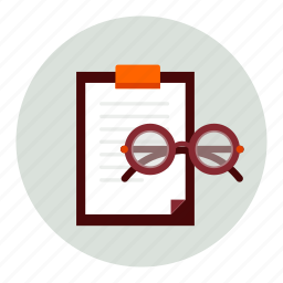 clipboard, document, glasses icon