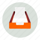 documents, drawer, out, paper icon