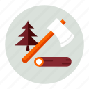 axe, ecology, environment, forest, nature, tree icon