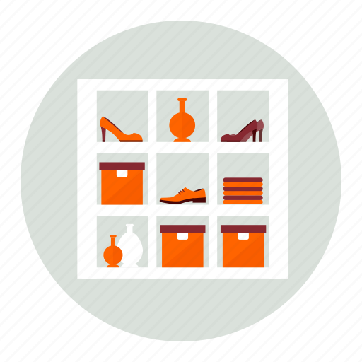 boxes, clothing, furniture, interior, shoes icon