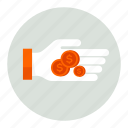 cash, coins, dollar, finance, hand, money, strached icon