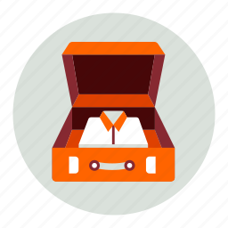 luggage, open, shirts icon