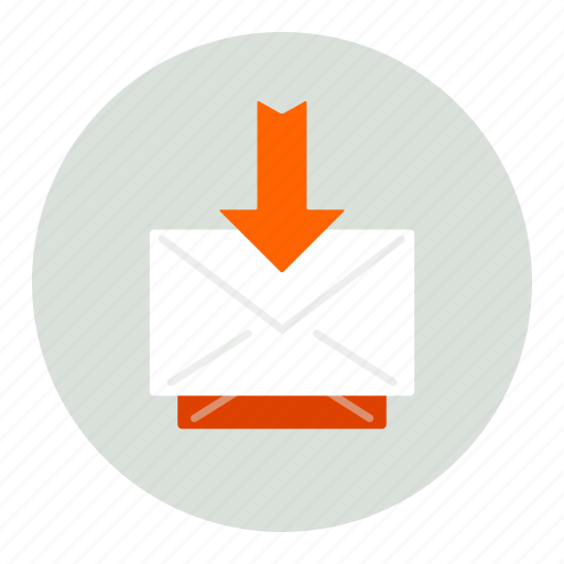 arrow, down, envelope, mail icon