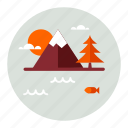 ecology, environment, lake, mountain, mountains, nature icon
