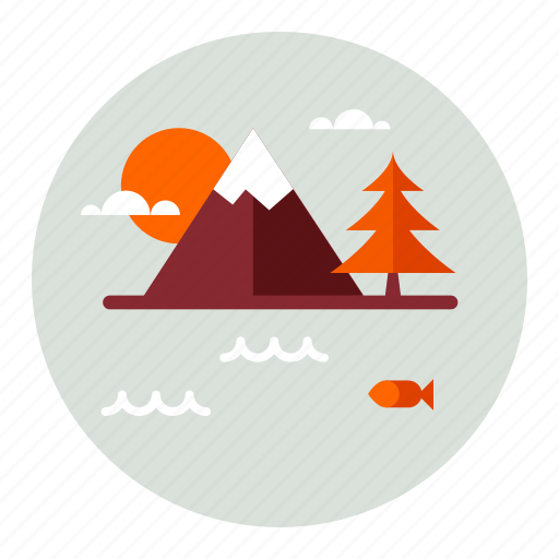 ecology, environment, lake, mountain, mountains, nature icon