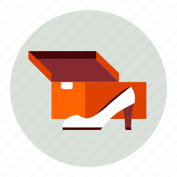 box, new, package, shoe, woman icon