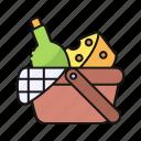 picnic, basket, food