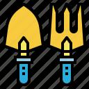 gardening, tools, pitchfork, rake, farming