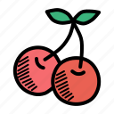 berries, berry, cherries, cherry, food, fruit, spring icon