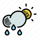 cloud, drizzle, forecast, rain, rainfall, sun, weather icon