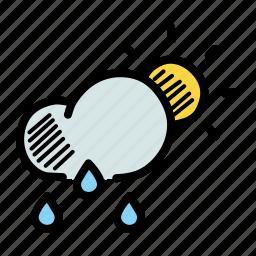 cloud, drizzle, forecast, rain, rainfall, sun, weather icon