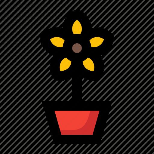 flower, plant, pot, spring icon