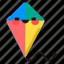 kite, toy, play, fly, emoji